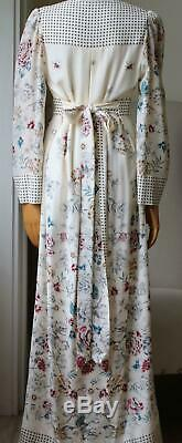 Vilshenko Amelie Floral And Square Print Silk Gown Uk 12