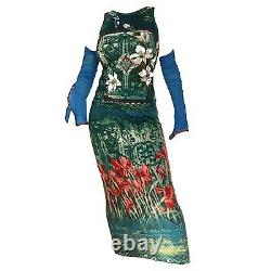 Vintage 90s Save The Queen micro mesh sleeve graphic print maxi dress Size L
