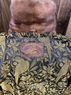 Vintage Alaska Fur Galley Full Length Brown Ranch Mink Fur Coat Large 8 10