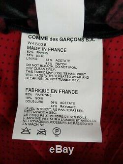 Vintage Comme des Garcons Women Skirt L Large Black Velvet Pink Polka Dot Lined