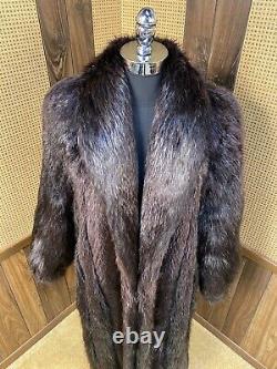 Vintage Full Length Ebony Long Haired Beaver Fur Coat Large 8 10