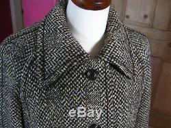 Vintage Ladies WINDSMOOR long full length ENGLISH TWEED WOOL mix COAT UK 16 14