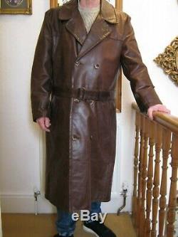 Vintage Sam Walker'Flying Togs' Full Length Heavyweight Leather Coat Size 48