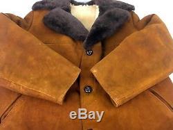 Vintage Sheepskin Shearling Leather Coat Jacket Large L Brown Suede Heavy Supple