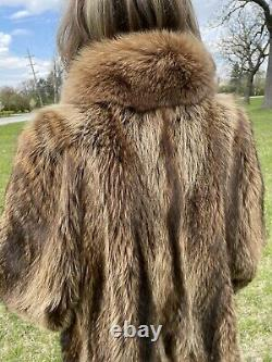 Vintage Size Medium / Large Tanuki Finn Raccoon Fox Fur Full Length Long Coat