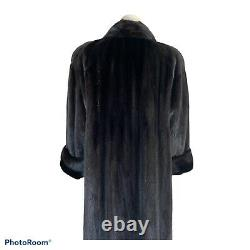 Vintage VALENTINO Natural MINK FUR COAT Full Length Rich Dark Sable Brown M/L
