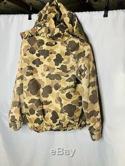 Vtg Columbia Jacket Parka Gore Tex Hooded Woodland Camo Hunting Coat Mens Large