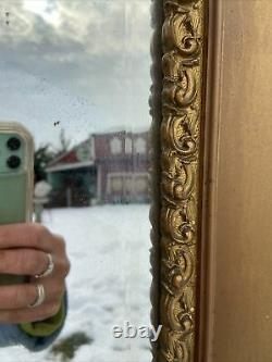 Vtg ORNATE VICTORIAN Full Length LARGE Beveled Mirror Barbola Wood Gold Frame