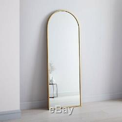 West Elm Arched Leaning Brass Floor Full-length Mirror Large RRP £499