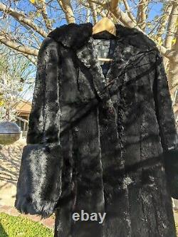 Womens 40's Vintage Seal Dyed Coney (Rabbit) Fur Coat Full Length Black Large