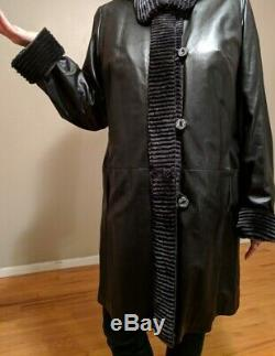 Womens Black Overland Leather and Fur Full-Length Coat, Size X-Large