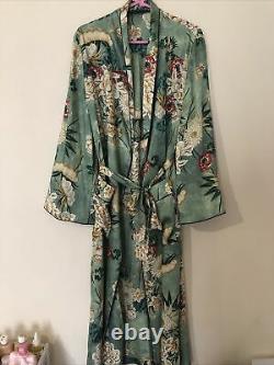 Zara Green Silk Oriental Floral Print Robe Kimono Bloggers Fav Uk L 14 16