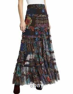 $310 Johnny Was Malynda Tiered Ruffle Mesh Maxi Skirt Medium Fits Large Too