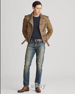 $ 3495 Ralph Lauren Violet Étiquette Hommes Slim Locklear Cuir Veste Motard Moto