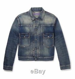 795 $ Ralph Lauren Purple Label Italie Hommes Perry Denim Jean Trucker Jacket Nwt