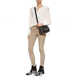 $ 998 Polo Ralph Lauren Femmes En Cuir Daim Taupe Leland Legging Pant Pantalon Nwt