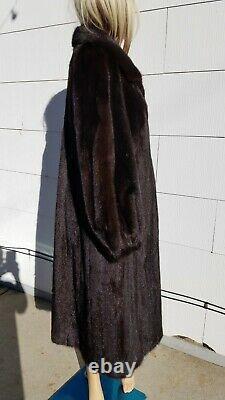 À Proximité De Mint Med L XL 44 Bust Dark Brown Mink Fur Women Full Length Long Coat