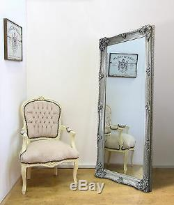 Abbaye Grand Cadrage Shabby Chic Vintage Leaner Miroir Mural Argent 65 X 31