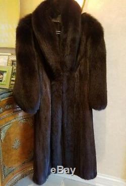 Acajou Véritable Vison Manteau De Fourrure Longueur Pleine Manches Longues Fox Cheveux Et 12 Manches Grl