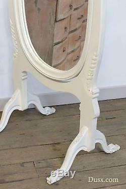 Antique Style Cheval Blanc Sculpté Décoratif Grand Miroir Longueur Pleine Chambre