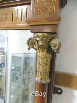 Antiquité, Edwardian, Large, 8'x4' , Noyer, Doré, Autoportante, De Pleine Longueur, Miroir, Colonne