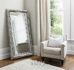 Anvers X Grand Shabby Chic Cadrage En Argent Mur Hung Floor Mirror 70 X 37