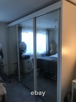 Armoire De Porte Coulissante En Miroir Blanc De Ruach