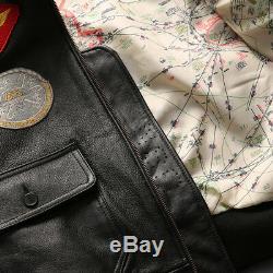 Avirex Fly Veste En Fourrure Col En Cuir Veste Homme Slim Fit Floral Manteau Zipper