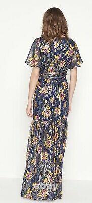 Ba & Sh Jessy Floral Bleu Lurex Maxi Dress Taille 3 / Large / Uk14 Seulement Worn Une Fois