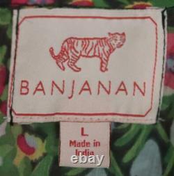 Banjanan Iris Smocked Floral Print Cotton Gauze Maxi Robe Grande