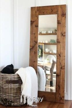 Belle Grand Cadrage Rustique Plancher De Bois Miroir Régénérés X 6 Pi 2 Pi