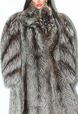 Belle Pleine Longueur Real Silver Fox Fur Coat Genuine Indigo Long Jacket Size L