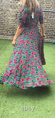 Bnwt Rixo Kristen Hibiscus Floral Imprimer Robe Maxi Ruffled Taille Boho L Uk 14