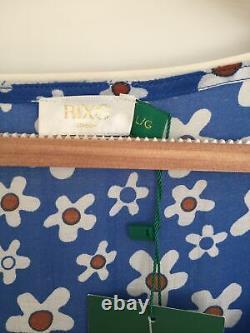 Bnwt Rixo Tamara Bleu Floral-imprimé Cotton-blend Midi/maxi Robe. Taille L