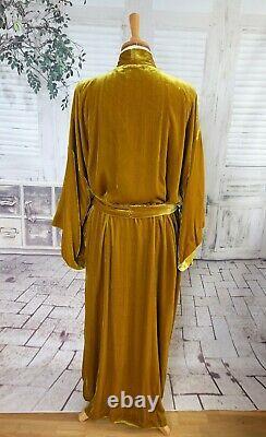 Bnwt Toast Or Velours De Soie Pleine Longueur Kimono Style Robe Taille De Robe Habiller L