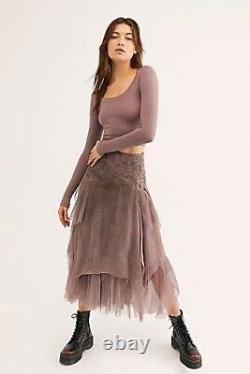 Brenda Knight Free People Luxe Fée En Mousseline De Soie Jupe Slik Violet Taille L