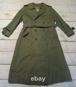 Burberry Authentifié Full Length Womens Trench Rain Coat Iridescent Army Green