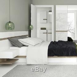 Chelsea Grand Large Blanc Brillant Et Chêne Meubles De Chambre 3 Miroir Porte Armoire