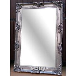Clayton Ornement Extra Large Cadrage Mur Miroir Plus Maigre Argent 177cm X 121cm
