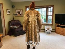 Couleur Riche Réduit Naturel Russe Manteau Lynx Fourrure Longueur Pleine Taille Medium / Large