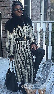 Designer Cadrage En Pied Noir Blanc Beige Manteau De Fourrure Vison Et Renard Poussette Veste S-m