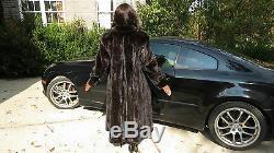 Designer Pleine Longueur Noir Brun Sable Mink Coat Fur Poussette L-xl 14-18 / 20