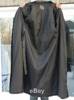 Designer Toute La Longueur Lanvin Brun Foncé Veste En Fourrure De Vison Manteau Poussette M-l 10-16