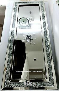 Diamant Crush Crystal Wall Mirror Grand 180x70cm Sparkly Argent Cadrage Grand