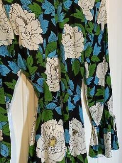 Diane Von Furstenberg Superbe Floral Maxi Robe En Soie Glorieux L