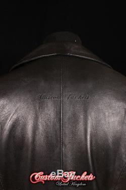 Dracula Hommes Noirs En Peau D'agneau Grand Col De Pleine Longueur En Cuir Long Manteau De Veste