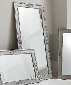 Ellesmere Vintage Grey Full Length Français Frame Wall Leaner Floor Mirror 65x31