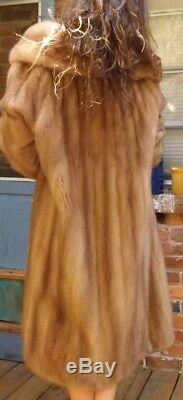 Emilio Gucci Rome New York, Pleine Longueur Blond Beige Vison Véritable Manteau De Fourrure L-xl