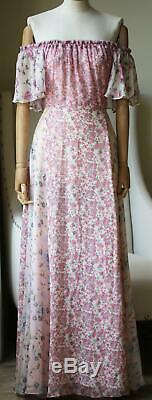Evelyn Loveshackfancy De L'épaule Floral Maxi Dress Us 8 Royaume-uni 12