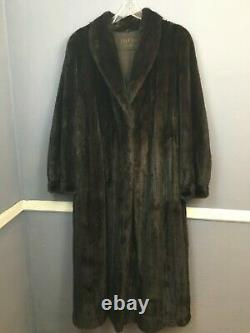 Exceptionnelle! Manteau De Fourrure Mink Pleine Longueur Noir Foncé Extra Large Veste
